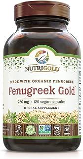 Nutrigold Organic Fenugreek Gold - 750 mg, 120 Organic Veggie Capsules (GMO-Free, Preservative-Free, Allergen-Free Organic...