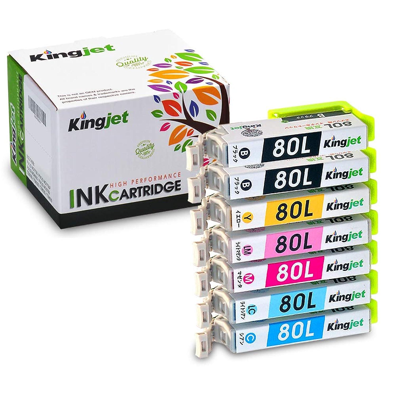 Kingjet IC6CL80L (6色セット)+ 黒1本【7本セット 増量】EPSON (エプソン) 互換インク 最新ICチップ付き?残量表示対応『インクとプリンターのダブル保証』 互換インク 【Kingjet オリジナル】