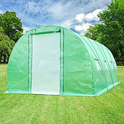 Ohuhu 12'x7'x7' Upgraded Large Walk-in Greenhouse with Dual Zippered Screen Doors & 6 Screen Windows, Heavy Duty Plant Green House with Reinforced Galvanized-Steel Frame, Ropes & Ground Staples