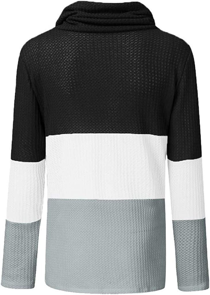 iHENGH Damen Herbst Winter Übergangs Warm Bequem Slim Lässig Stilvoll Frauen Langarm Solid Sweatshirt Pullover Tops Bluse Shirt B Schwarz