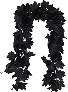 Fall Decor Black Garland, Black Decorations Halloween Garland, Fall Wall Hanging Maple Leaves, Artificial Black Maple Leaf Vine, Halloween Decorations Clearance,Fall Decoration for Home, Pack of 2