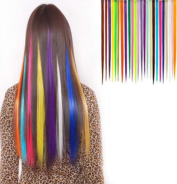 YAKEFJ 24 piezas de color recto clip de color en extensiones ...