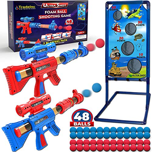 Shooting Game Toys for 5 6 7 8 9 10 Year Old Boys and Girls  2 Foam Ball Popper Air Toy Guns with Standing Target and 48 Foam Balls Great Outdoor Toys For Kids Fun Gift For Boys