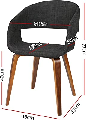 Artiss Dining Chairs Set of 4, Fabric Bentwood Dining Chairs, Charcoal