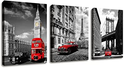 Paris Decor Wall Art for Bedroom Eiffel Tower/London Big Ben/New York Decor Canvas Wall Art For Office Bathroom Decor Europe Buildings Picture HD Canvas Painting National Landmark Tourism Home Decor