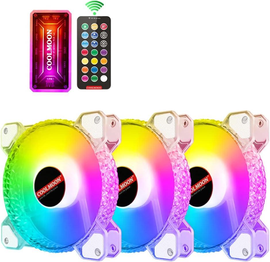chaoxiner Diamond Ventilador de 120 mm de refrigeración para PC PC Ventilador Ventilador Ventilador PWM 6PIN ajustable silencioso silencioso silencioso ventilador RGB Radiador Aura Sync