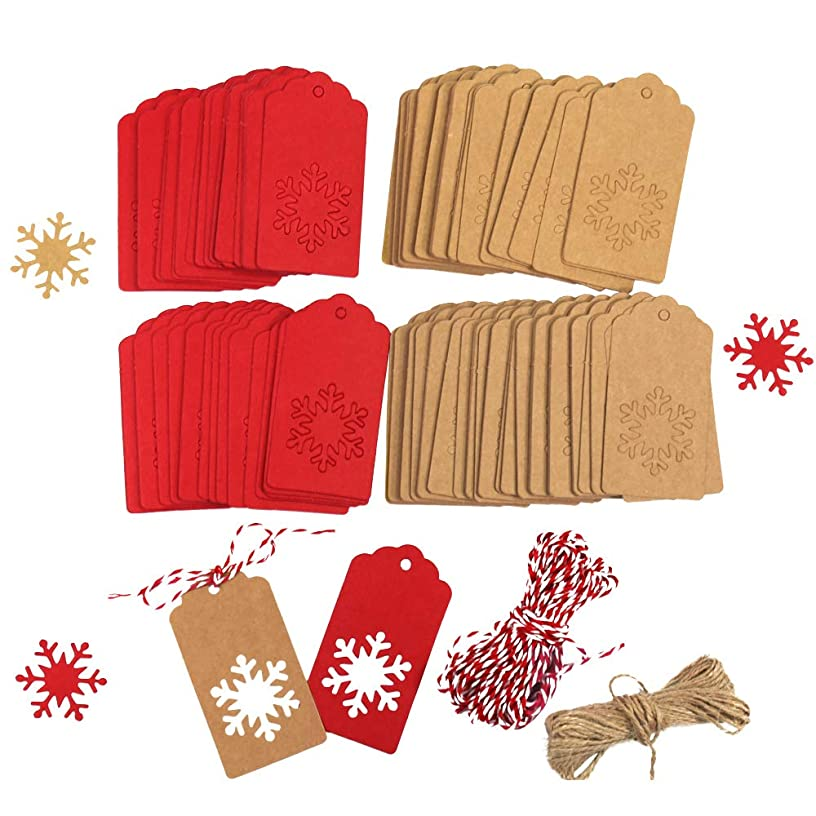 Tuzico 200Pcs Paper Tags Kraft Christmas Gift Tags Christmas Snowflake Shape Hang Labels with Natural Jute Twine Brown and Red Twine Total 65.6 Feet for Gift Tag Decorations