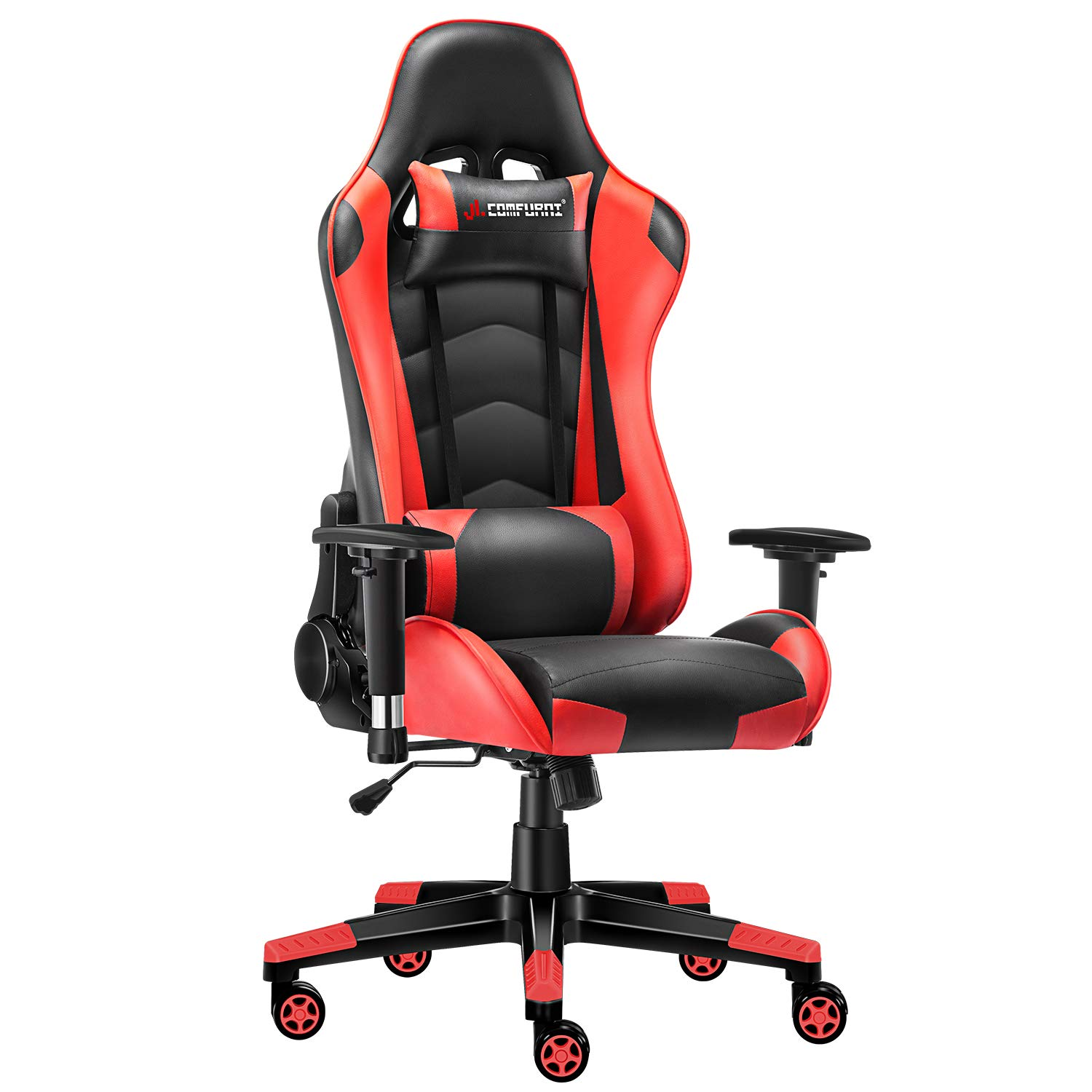 Fine Jl Comfurni Gaming Chair Computer Chairs Ergonomic Swivel Office Pc Desk Chair Heavy Duty Reclining High Back With Lumbar Cushion Blackred Squirreltailoven Fun Painted Chair Ideas Images Squirreltailovenorg