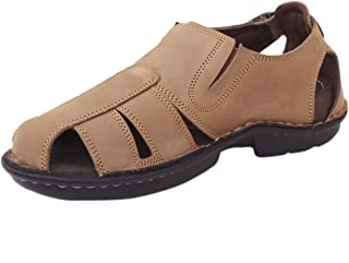 Athlego Men's Leather Outdoor Sandals & Floaters in Brown Color