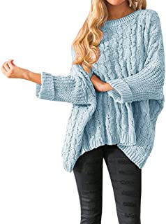 1f975d9cb0 Womens Oversized Sweaters Plus Size Long Sleeve Cable Knit Chunky Pullover  Sweater Jumper Tops
