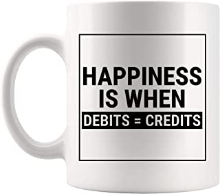 Thoughtful Gifts for Accountants Coffee Cup | Mug for Funny Accountant Happiness Debits Credits Accounting Auditor CPA Certified Public Tax Preparer Season IRS