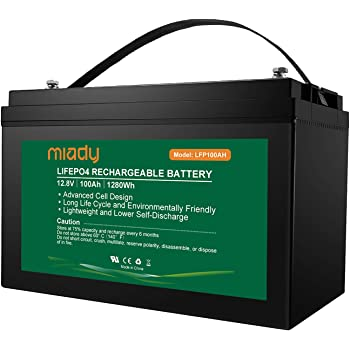 Miady 12V 100Ah Lithium Phosphate Battery, Over 2000 Cycles Lightweight LiFePO4 Battery, Replacement Battery for Solar Power, RV, EV and Marine Applications …