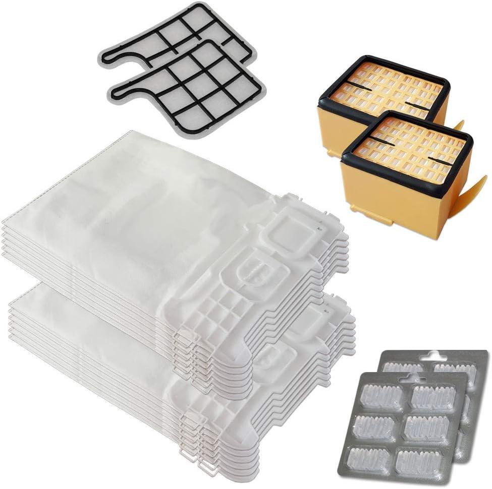 Juego de 12 bolsas de aspiradora + 12 ambientadores + 2 filtros Hepa + 2 filtros de protección del motor para Folletto Vorwerk Kobold 135, 136, 135 SC, VK 135, VK 136, VK135, VK136, FP135, FP136