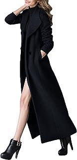 معطف طويل ساحر للنساء من الصوف معطف شتوي مزدوج الصدر كلاسيكي دافئ سميك