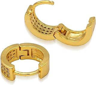 BOZONY 18K Gold Plated Earrings Cubic Zirconia Cuff Hoop Earrings for Women