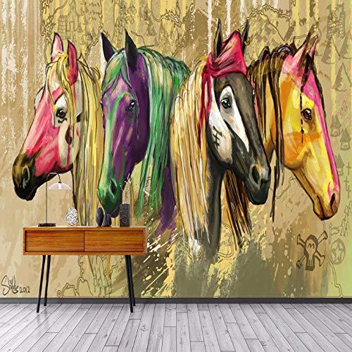 Behang niet-geweven muurschilderingen muurschildering foto vintage hand getekend abstract paard olieverfschilderij 3D moderne huis slaapkamer decoratie 350x256cm