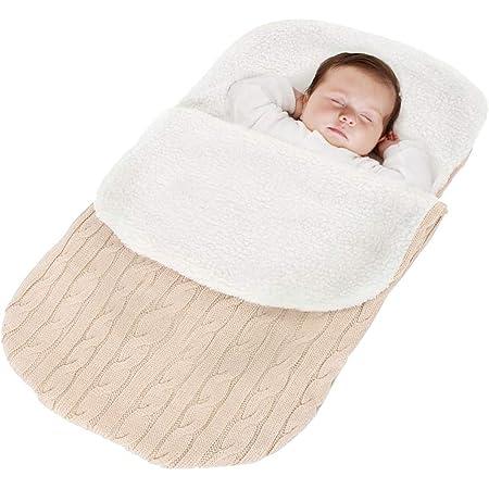 Minetom Kinderwagen Baby Schlafsack Stricken Winter Buggy Babyschale Winterfußsack Weich Warmes Plüsch Draussen Fußsack Babydecke Footmuff Beige 38 68 Cm Bekleidung