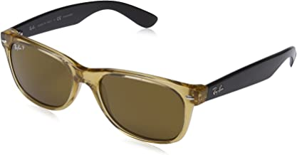 RAY-BAN RB2132 New Wayfarer Polarized Sunglasses, Honey/Polarized Crystal Brown, 55 mm
