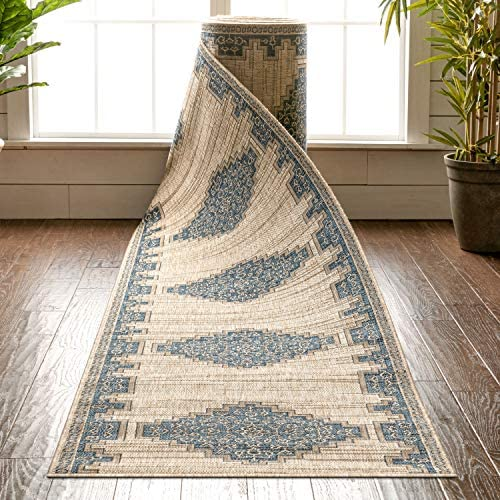 Well Woven Custom Size Indoor Outdoor Runner Choose Your Length Siare Blue Beige Flat Weave product image