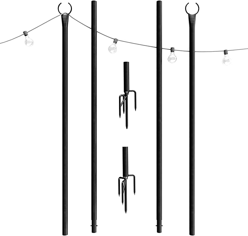 Outdoor String Lights Pole 2 X 8ft Patent 4Prong Fork To Dig Deep Light Up Patio Or Garden With LED Or Solar Hanging Bulbs Water Resistant Steel Powder Coated Poles For House Caf Wedding