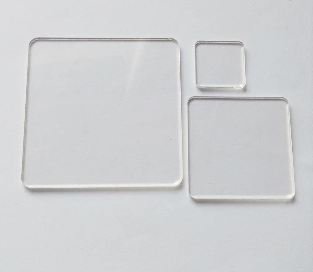 3.0 DIY Accessory 1//8 Thickness Blank Clear Acrylic Square Material,Plexiglass Laser Cut Square Sheet with Round Corners