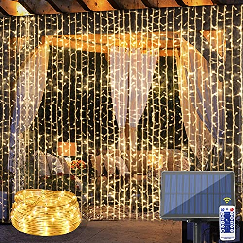 slashome Solar Curtain String Lights Outdoor Waterproof Rope Lights 10 Strings 300 LED Solar Powered Tube Starry Lights with Remote Control 8 Modes for Garden Fence Yard Party Wedding Patio Decoration