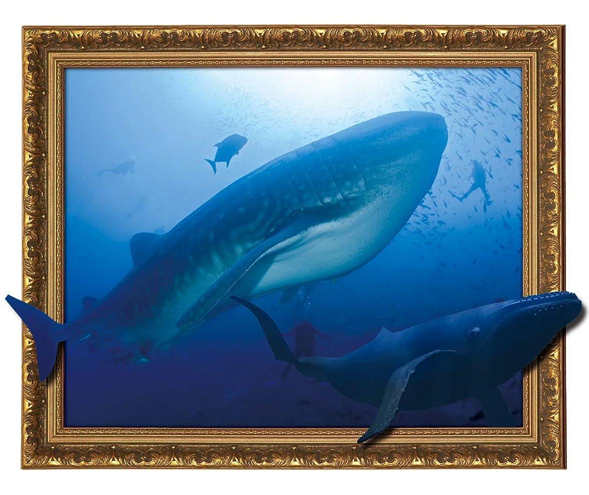 住人プライバシー贅沢飛び出す防水お風呂ポスター BP-013クジラ/額タイプ 厚手