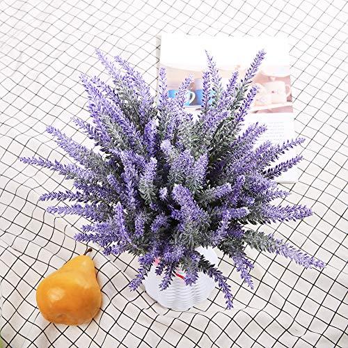 DuHouse Fake Lavender Flowers Artificial Plastic Plant 10 Bundle Faux Silk Greenery Stems Bridal Bouquet for Home Office Kitchen Garden Outdoor Wedding Decor(Purple)