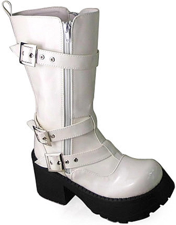 Antaina Antaina Antaina Low Heel vit PU Metal Buckle Zipper Punk Chunky Lolita Platform stövlar  Fri och snabb leverans tillgänglig