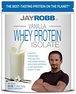 Jay Robb Whey Vanilla Isolate Protein Powder, Low Carb, Keto, Vegetarian, Gluten Free, Lactose Free, No Sugar Added, No Fa...