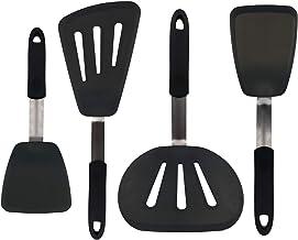 Stekspade Set i 4-Delar - 315°C Värmebeständiga Flexibla Stekspadar i Silikon, Pannkaksvändare, Plättvändare, Vändare, Kök...
