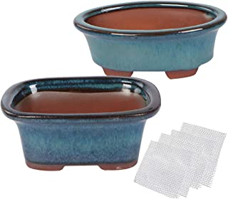 Happy Bonsai Small Glazed Pots, Value Set of 2 + 4 Soft Mesh Drainage Screens