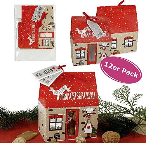 Keks- & Pralinenschachtel Rentier Didi 12 Stück - Geschenkschachtel, Keks Tüte, Keks Box