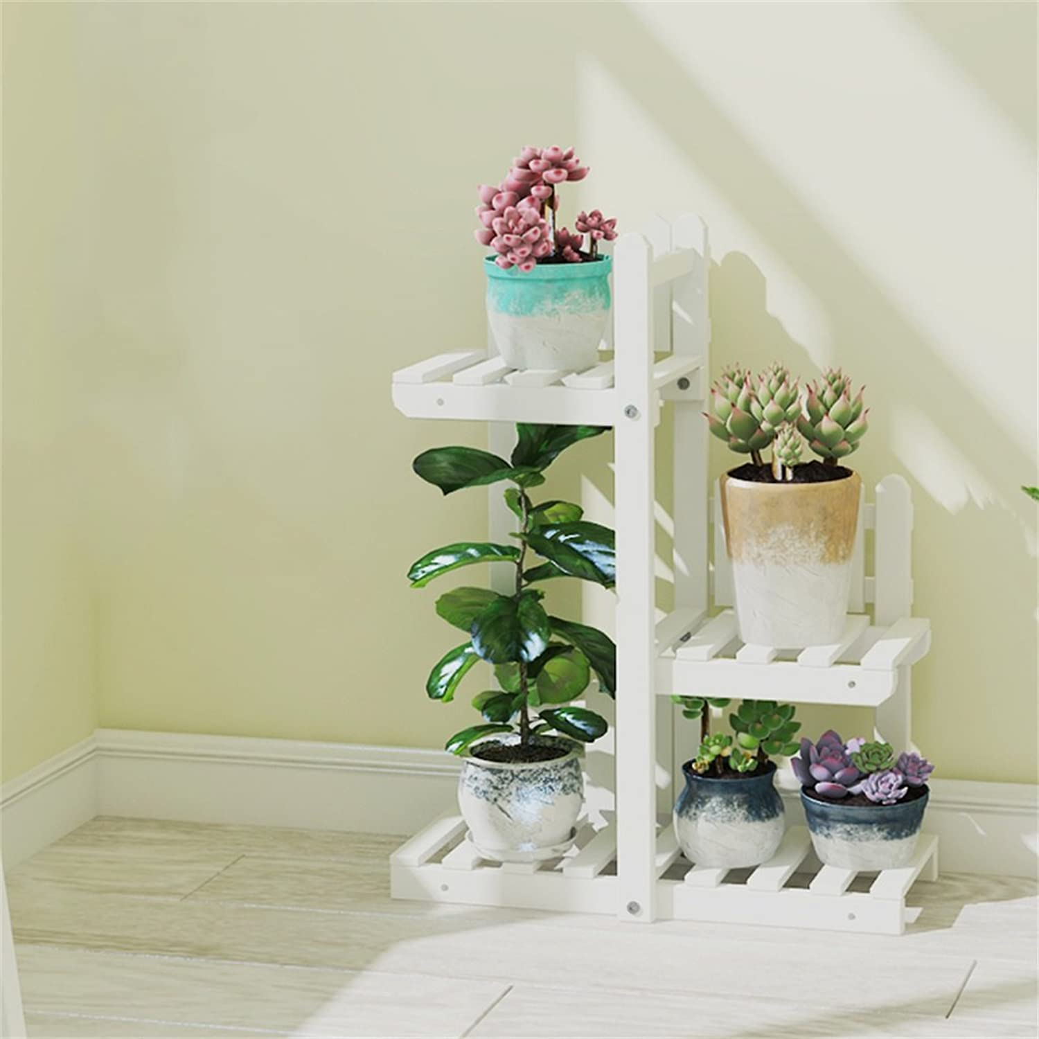 NYDZDM Wooden Flower Stand Indoor and Outdoor Multi-Story Space-Saving Solid Wood Balcony Decoration Living Room Display Flower Stand 50L×20W×65H (cm), 19.7L×7.9W×25.6H (inch) (color   White)