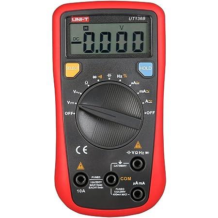 UNI-T UT136B - Multímetro de mano digital/voltímetro/comprobador de circuito eléctrico (CC/CA), función de escala automática, amperímetro