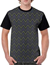 Mens Short Sleeve T-Shirt,Dark Blue,Modern Geometrical Pattern with Neon Effected Chevron Zigzag Lines, Dark Blue Yellow Green S-XXL Baseball Print Casual O-Neck Tops