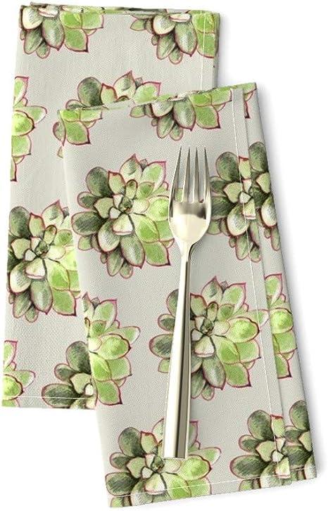 - Tropical Cactus Flowers by sveta/_aho Desert  Floral Bloom Flower Summer Cloth Napkins by Spoonflower Set of 2 Succulent Dinner Napkins