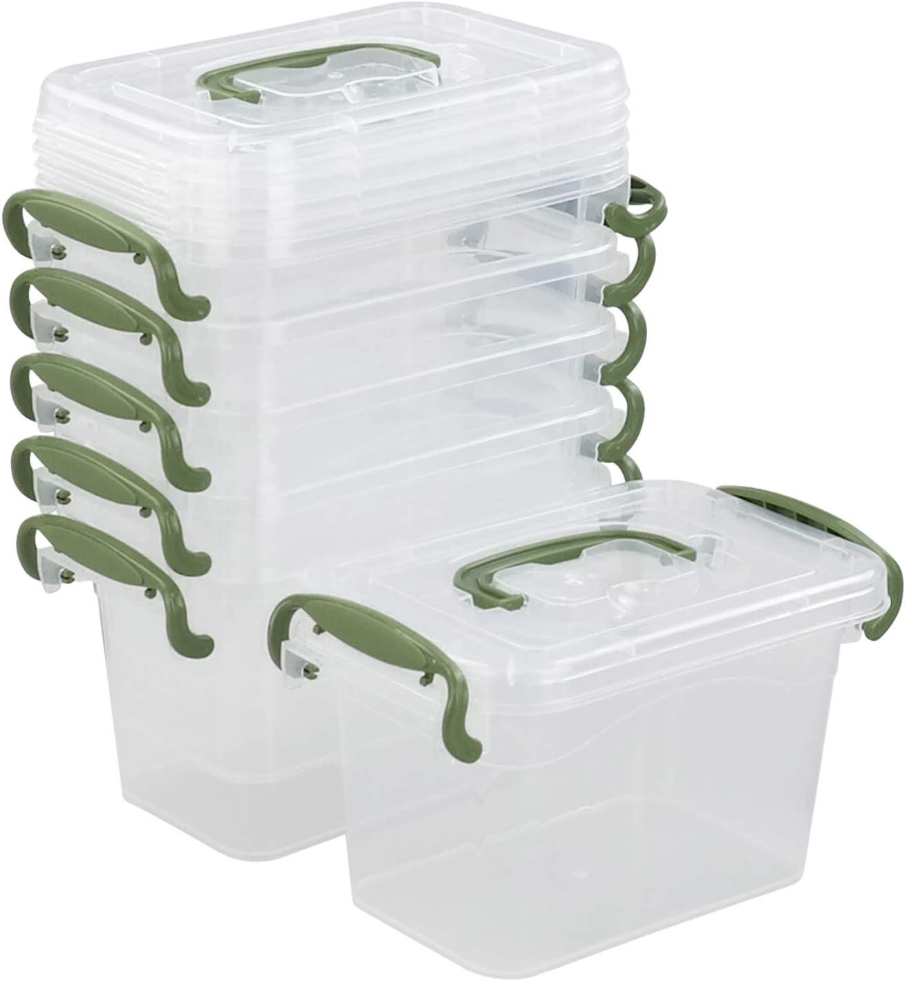 Spring new work Ortodayes Popular overseas 6 Packs Mini Latch Storage Clear Plastic Bins wit Box