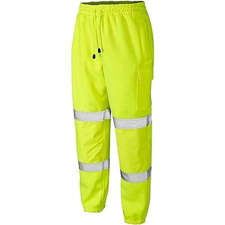 Mega_JumbleSale® Mens Hi Vis Viz Two Tone Jogging Bottoms Combat Trousers Workwear Joggers | Safety Cargo Knee Pocket Trousers (5XL, HI Vis Yellow)