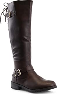 LUSTHAVE Women's Gina Lace Up Buckle Knee High Riding Boots