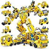 PANLOS STEM Robot Building Toys Engineering Building Bricks Construction Vehicles Kit Building Blocks for Kids 6 Years Old or Older Tight Fit and Compatible with All Major Brands 723PCS(Yellow)