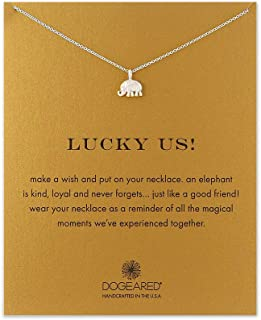 LANG XUAN Message Card Compass Pendant Necklace Friendship Starfish Good Luck Elephant Pendant Chain Necklace with Gift Card …