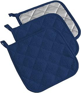 DII 100% Cotton, Terry Pot Holder Set Machine Washable, Heat Resistant, 7 x 7, Nautical Blue, 3 Piece