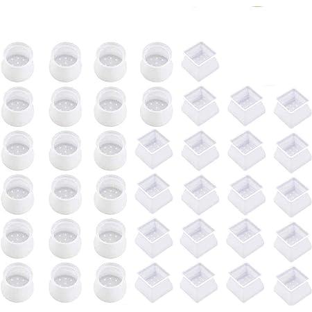 Tapones para Patas de Silla - WENTS 40PCS Pies de Goma Transparentes Silicona Antideslizante Resistente al Desgaste Protector de Suelo para el hogar Round Tapas Cuadradas para Patas De Silla