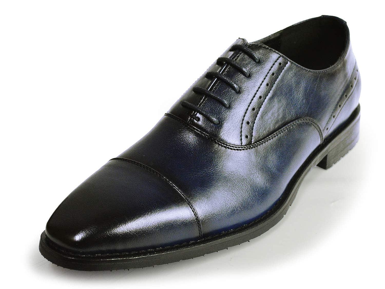 [ジーノ] ビジネスシューズ 靴 革靴 メンズ ストレートチップ レースアップ 内羽 ロングノーズ フォーマル 幅広 防滑 紳士靴