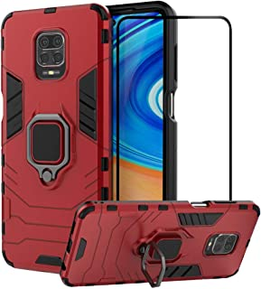2ndSpring Case for Xiaomi Redmi Note 9S/ Note 9 Pro/Note 9 Pro Max with Tempered Glass Screen Protector,Hybrid Heavy Duty ...