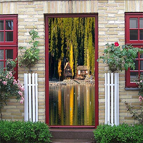 PJDYHA Murales Para Puertas 3D cabina Etiquetas Engomadas De la Puerta De DIY 3D CalcomaníA De Vinilo ExtraíBle Adhesivos Pared Para Dormitorio Sala 77 x 200 cm