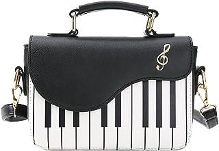 Negro nueva moda color de golpe bolso de impresion de piano dulce viento fresco hombro diagonal portatil pequeno bolso