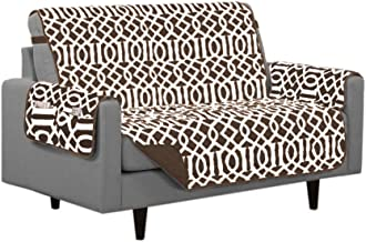 Linen Store Dallas Quilted Reversible Microfiber Furniture Protector with Strap and Pockets, Chocolate, Loveseat