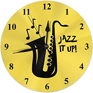 MJclocks Saxophone Jazz It Up Club 10 Inch Design Round Classic Wall Clock Battery Operated for Home Decorative Living Room Bathroom Office